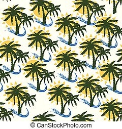 Coconut tree print for textile design - Palm tree, sun and...