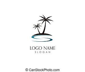 Coconut tree summer logo template vector icon illustration design