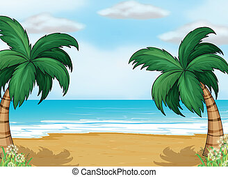 Coconut trees in the seashore