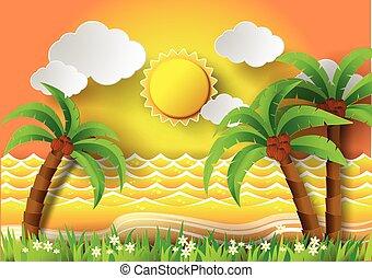 Coconut trees on the beach and sun .vector illustration. -...