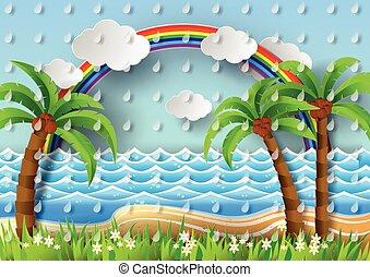 Coconut trees on the beach and sun wiht rainbow.vector...