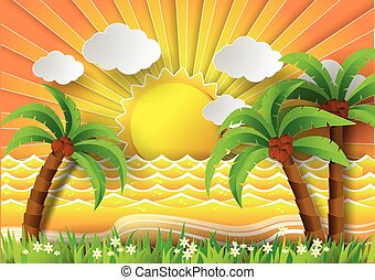 Coconut trees on the beach with sunbream. - Coconut trees on...