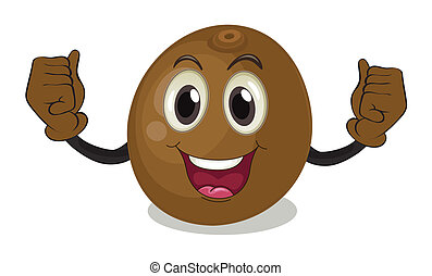 Coconut - Illustration of a coconut with face