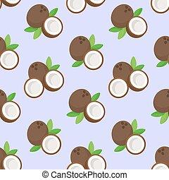 Coconut vector flat seamless pattern