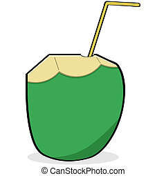 Coconut water - Cartoon illustration showing a straw...