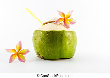 Coconut water drink. - Coconut water drink isolated on white...