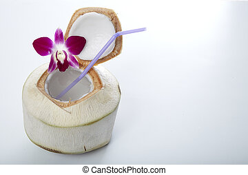 Coconut Water Drink - Fresh Coconut Water Drink on white...