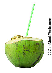 Coconut Water on white background.