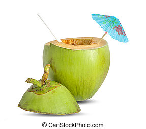Coconut water with straw an isolated on white background. Clipping path