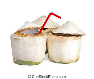 Coconut water with straw on white isolated background. Clipping path
