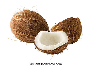 Whole and broken coconut on white background