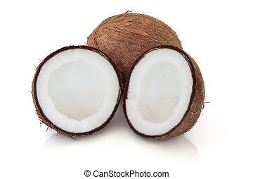 Coconut whole and in half isolated over white background with reflection.