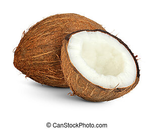 coconut with cut half isolated on white, clipping path