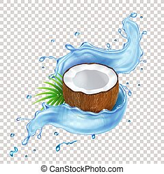 Coconut with green leaves and blue water splash