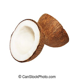 Coconut with half isolated on white