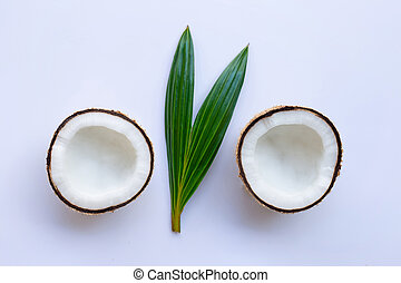 Coconut with leaf on white background.