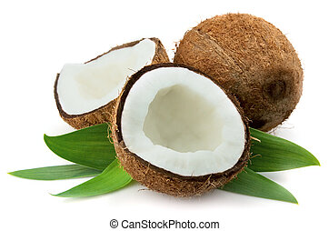 Coconut with leaves