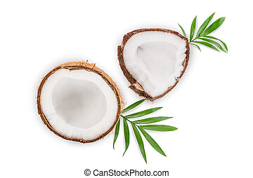 coconut with leaves isolated on white background. Top view. Flat lay