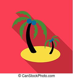 Coconut with palm leaves. Vector.