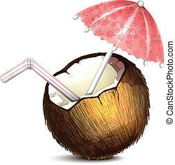 Coconut with Umbrella and Straw