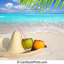 Coconuts in Caribbean beach on mexico sombrero hat tropical...