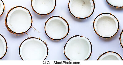 Coconuts on white background. Top view