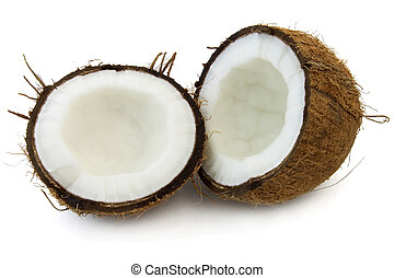 Cut cocos on a white background