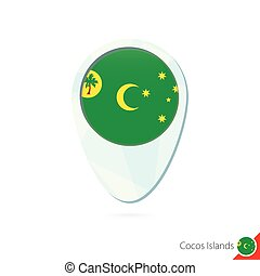 Cocos Islands flag location map pin icon on white...