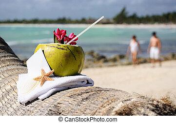 cocos, playa de caribbean, cóctel, paraíso