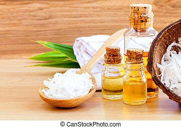 cocosnoot, olie, natuurlijke , ingredienten, -, alternativ, spa, essentieel