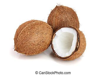 cocosnoot, vrijstaand, achtergrond, helft, witte , geheel