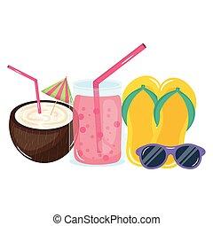 cocosnoot, zonnebrillen, cocktail, tik, tropische , afgangen