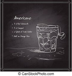 Cocktail americano on black board with ingredients. Alcohol cocktails theme.
