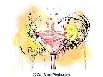 coctail and lemon on abstract multicolor background