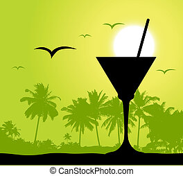 coctail, fête, plage