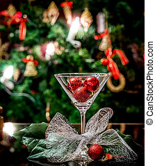 Coctail glass with decorations