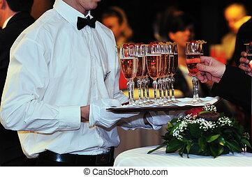 coctail, i, bankiet, catering, partia, wypadek
