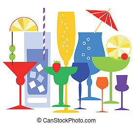 Coctails vector illustration - Colorful coctails glasses...