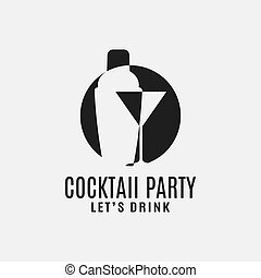 coctelera, cóctel, martini, logotipo, vidrio