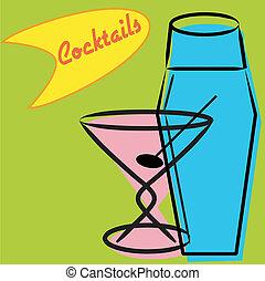 coctelera, retro, martini