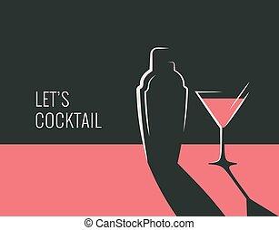 coctelera, vidrio cóctel, banner., fiesta
