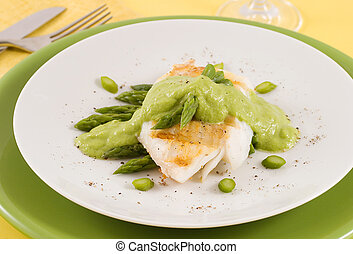 Cod and asparagus