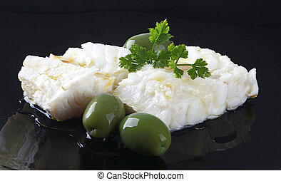 Cod fillet - Fillet of cod with olives and parsley