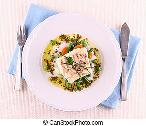 Cod Fillet with green beans, peas, parsley, olive oil