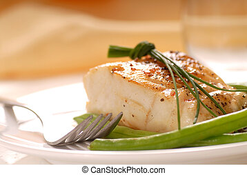 Cod fillet with green beans - Fresh sauteed cod fillet with...