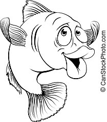 An illustration of a happy cute cartoon cod fish in black and white