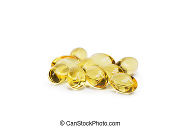 Cod liver oil omega 3 gel capsules or pils isolated on a white background. A group of transparent fish oil tablets.