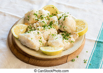 Cod with olive oil and parsley