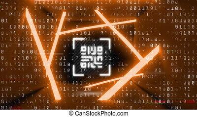 codage, binaire, éléments, qr, contre, néon, code, scanner