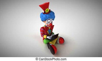 codage, -, clown, triste, animation, 3d